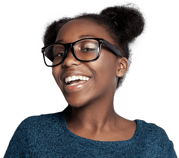 Smiling teen girl with straight teeth