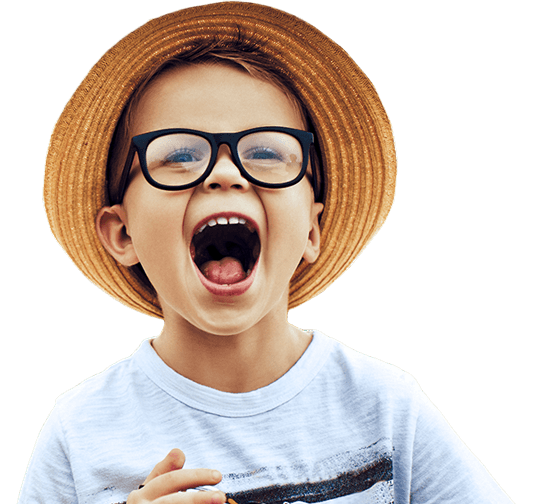 Laughing young boy with hat