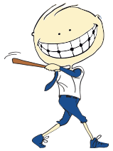 Animated child playing baseball