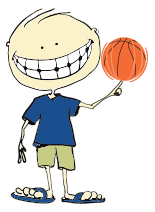 Animated child spinning basketball