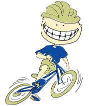 Animated child riding bike