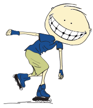 Animated boy with braces skating
