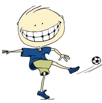 Animated child playing soccer