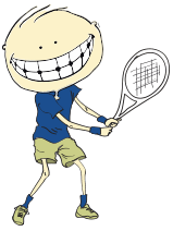 Animated child holding tennis racket