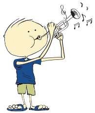 Animated child playing trumpet
