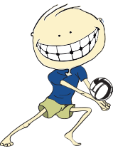 Animated child playing volleyball