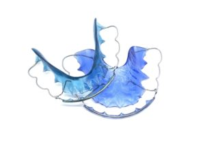 set of blue retainers from orthodontist in Northampton
